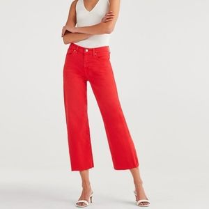 7ForAllMankind Cropped Alexa Cut Off Hem Red Jeans